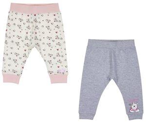 Baby Hose 2er Set Mädchen: weiß mit rosa Bund/ grau melange Gr. 62/68