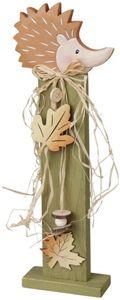 Standdeko - Igel - aus Holz - 15 x 5 x 41 cm