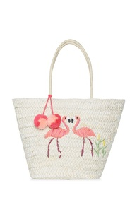 Strohtragetasche mit Flamingos