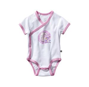 Liegelind Baby-Mädchen-Wickelbody mit Häschen-Frontaufdruck
