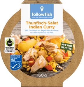 followfish Thunfisch-Salat Indian Curry, MSC Zertifizierung, Fair Trade, 160g