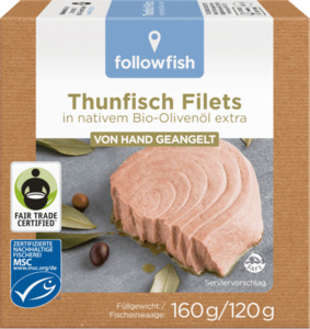 followfish Thunfisch Filets in Bio-Olivenöl, MSC Zertifizierung, Fair Trade, 160g/120g