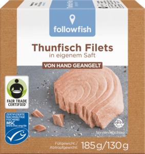 followfish Thunfisch Filets in eigenem Saft, MSC Zertifizierung, Fair Trade, 185g/ 130g