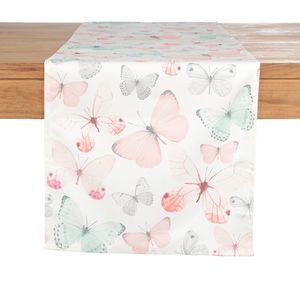 Tischläufer Schmetterlinge, B:40cm x L:150cm, koralle