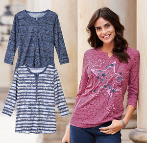 Laura Torelli Classic Damen-Shirt mit kunstvollem Motiv