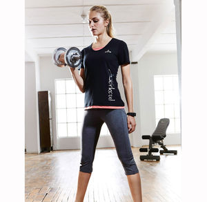 Damen-Fitness-Caprihose in Melange-Optik