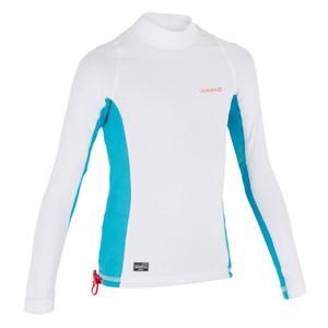 OLAIAN UV-Shirt langarm Top 500 Kinder weiß/blau, Größe: 14 J. - Gr. 164