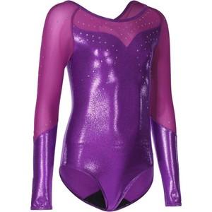 DOMYOS Gymnastikanzug Turnanzug Strass langarm Kinder violett, Größe: 14 J. - Gr. 164