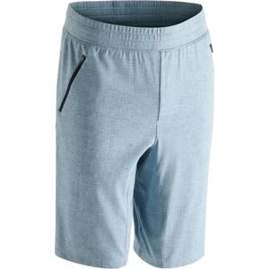 DOMYOS Sporthose kurz Gym 520 Slim knielang Herren Fitness blau/grau mit Print, Größe: L