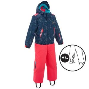 WED´ZE Skianzug 300 Pull´n Fit Kinder rosa/Tieraufdruck, Größe: 4 J. - Gr. 104