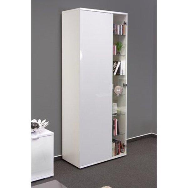 Hochwertige Wohnzimmer-Vitrine mit Glastür in Brilliant-Weiß