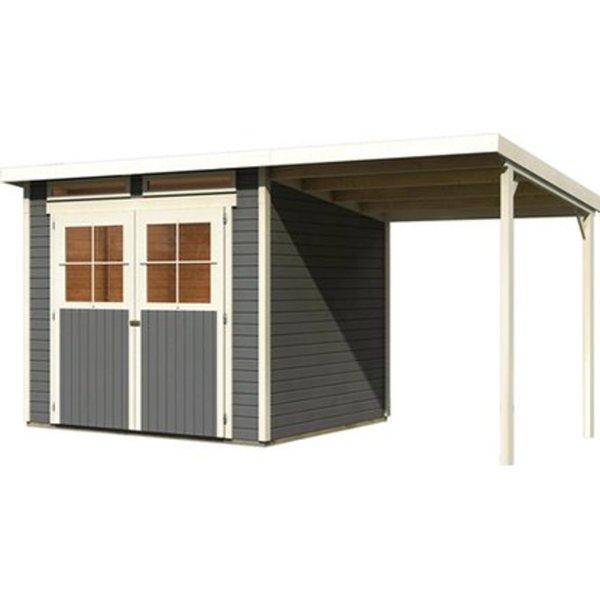 Karibu Holz Gartenhaus Genf 3 Terragrau Bxt 397 X 213 Cm Davon 188 Cm Anbaudach Von Obi Ansehen