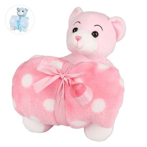 Teddybär mit Kuscheldecke rosa