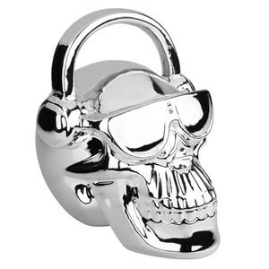 Deko-Totenkopf metallic mit Kopfhörern