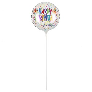 Mini-Folienballon mit Stab Happy Birthday