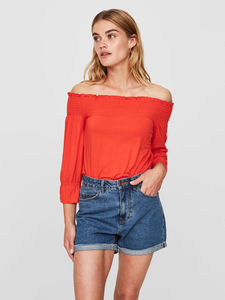 OFF-SHOULDER BLUSE MIT 3/4 ÄRMELN
