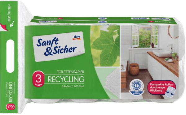 Sanft&Sicher Toilettenpapier Recycling 3-lagig, 8x200 Blatt
