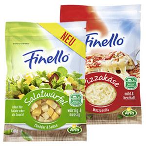 Arla Finello Pizzakäse gerieben oder Salatwürfel, 40 - 47 % Fett i. Tr. und weitere Sorten, jeder 150-g-Beutel