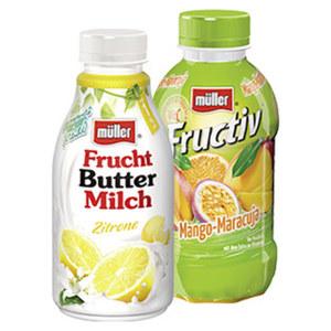 müller Drink Fructiv oder Fruchtbuttermilch versch. Sorten, jede 440-ml/500-g-Flasche