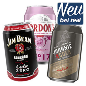 Gordons Pink Gin & Tonic, Johnnie Walker Red & Ginger Ale, Johnnie Walker Red % Cola oder Jim Beam White & Cola Zero 10/10/10/10 % Vol., jede 0,33-l-Dose