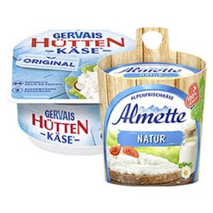 Almette Natur Frischekäsezubereitung oder Gervais Hüttenkäse körniger Frischkäse 70 % Fett i. Tr./3,9 % Fett absolut, versch. Sorten, jedes 150-g-Fässchen/jeder 200-g-Becher