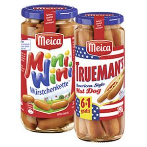 Meica Trueman´s Hot Dog oder Mini Wini Würstchen versch. Sorten,  jedes 7 Stück = 350-g-Glas/jedes 180-g-Glas