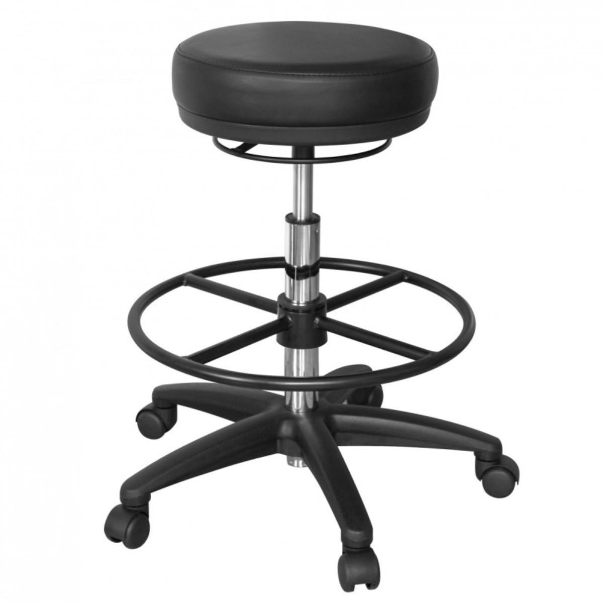 Bild 2 von AMSTYLE Arbeitshocker ROLAND Schwarz Rund Sitzhocker Rollen gebremst Arbeitsstuhl 120 KG Hocker höhe