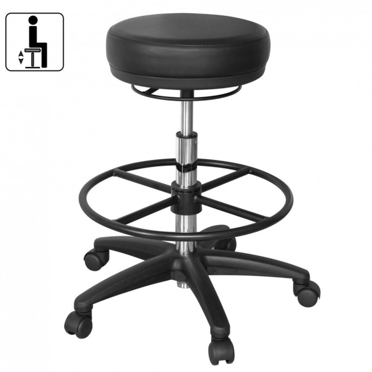 Bild 3 von AMSTYLE Arbeitshocker ROLAND Schwarz Rund Sitzhocker Rollen gebremst Arbeitsstuhl 120 KG Hocker höhe