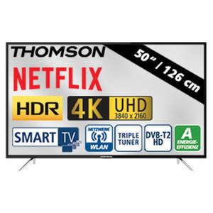 "50""-Ultra-HD-LED-TV 50UC6316 HbbTV, H.265, HDR, 3 HDMI-/2 USB-Anschlüsse, CI+, Stand-by: 0,30 Watt, Betrieb: 93 Watt, Maße: H 66,0 x B 113,1 x T 7,5 cm, Energie-Effizienzklasse A (Spektrum A++ bis"