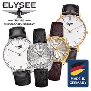 """Herrenuhr """"Zelos"""" oder Damenuhr """"Diana"""" Modell in Edelstahl poliert und mit schwarzem Lederband oder in Edelstahl vergoldet und mit dunkelbraunem Lederband, ab"""