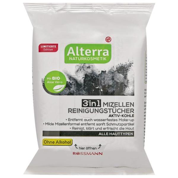 Alterra 3in1 Mizellen Reinigungstücher Aktiv-Kohle