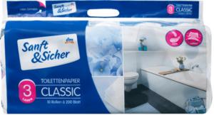 Sanft&Sicher Toilettenpapier 3-lagig, 10x200 Blatt