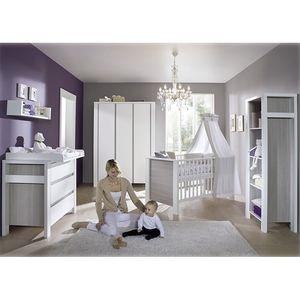 Babyzimmer Milano - Pinie Silber Dekor/Weiß - mit 2 trg. Schrank, Schardt