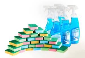 Hai Glas- und Kunststoffreiniger 5 x 750 ml + Schwammset 28-teilig Westfalia