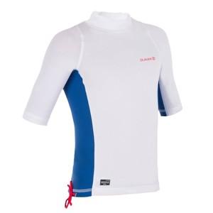 OLAIAN UV-Shirt kurzarm Surfen Top 500 Kinder weiß/blau, Größe: 6 J. - Gr. 116
