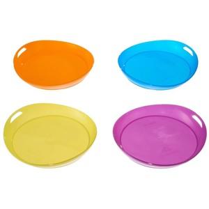 Set mit 4 flachen Tellern Kunststoff QUECHUA