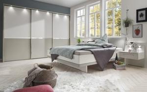 Wiemann - Schlafzimmer Alaska in alpinweiß/ Absetzung kieselgrau Dekor