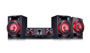 LG CJ 88 Micro Hi-Fi Audiosystem [Schwarz-Rot] - 2900 Watt, Android kompatibel via Bluetooth, 2x USB, AUX-In