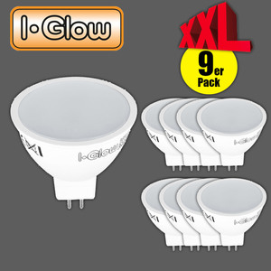 I-Glow LED-Leuchtmittel 9er GU5.3 MR16 tageslichtweiß