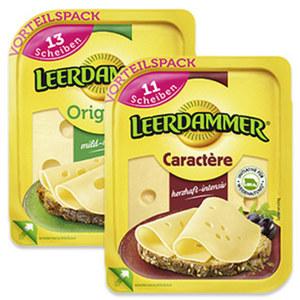 Leerdammer Original oder Leerdammer Caractère Holländischer Schnittkäse, 45 % Fett i. Tr./17 % Fett absolut und weitere Sorten, jede 260/225-g-Packung