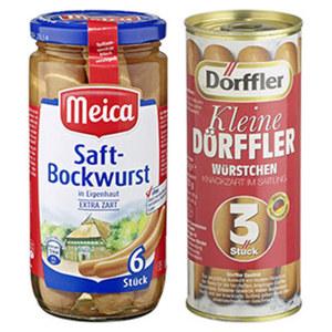 Meica Saft- oder Geflügel-Bockwurst oder kleine Dörffler jede 3 Stück = 125-g-Glas jedes 6 Stück = 180-g-Glas