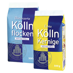 Blütenzarte Köllnflocken oder Echte Kölln Kernige 100 % Hafer-Vollkorn, jeder 500-g-Beutel