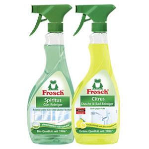 Frosch Dusche-& Bad-Reiniger, Glas-Reiniger, Allzweck-Reiniger oder Fett-Entferner jede 500-ml-Flasche