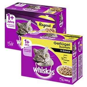Whiskas  Katzen-Nassnahrung versch. Sorten, jede 12 x 100 g = 1200-g/12 x 85 g = 1020-g-Multi-Packung