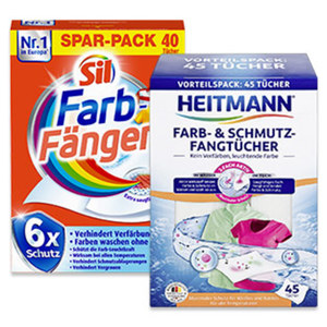 Sil Farb-Fang-Tücher 40er oder Heitmann Farb-u. Schmutzfangtuecher 45 er, jede Packung