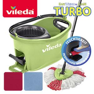 Turbo Easywring & Clean Box - reinigen ohne Hände, ohne Bücken, ohne Kraftaufwand - 1 Turbo-Microfaser-Wischmopp - 1 Eimer mit Powerschleuder und Fußpedal