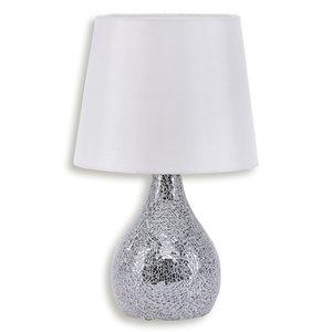 Tischlampe CORNELIUS - weiß-silber - Stoffschirm