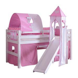 Spielbett Eliyas - mit Rutsche, Vorhang, Tunnel, Turm und Tasche - Buche weiß/Textil rosa-weiß-herz, Relita