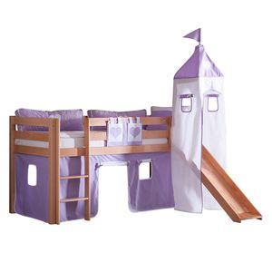 Spielbett Alex - mit Rutsche , Vorhang, Turm und Tasche - Buche natur/Textil purple-weiß-herz, Relita