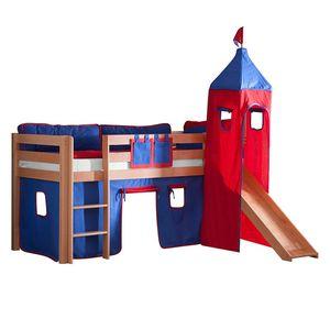 Spielbett Alex - mit Rutsche, Vorhang, Turm und Tasche - Buche Natur/Textil Blau-Rot, Relita
